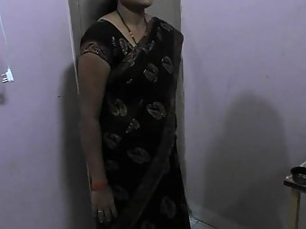 Husband Filming His Indian Wife While She is changing saree