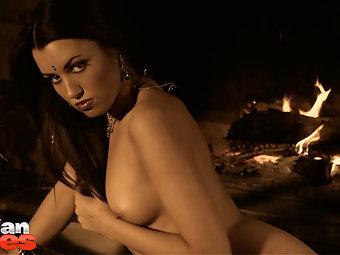 Hot Indian girl aishwarya stripping naked in black sari